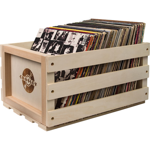 Crosley Radio Record Storage Crate for 75 LP Albums (Solid Wood Finish)