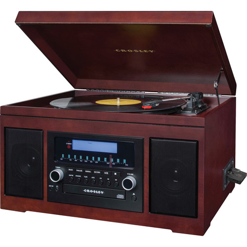 Crosley Radio Cannon Sound System with Turntable, CD Player/Recorder, AM/FM Radio, and Cassette Player