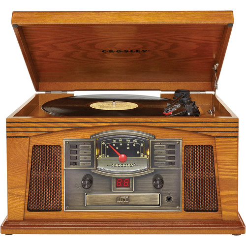 Crosley Radio Lancaster Sound System with Turntable, Cassette, CD, and AM/FM Radio (Oak)