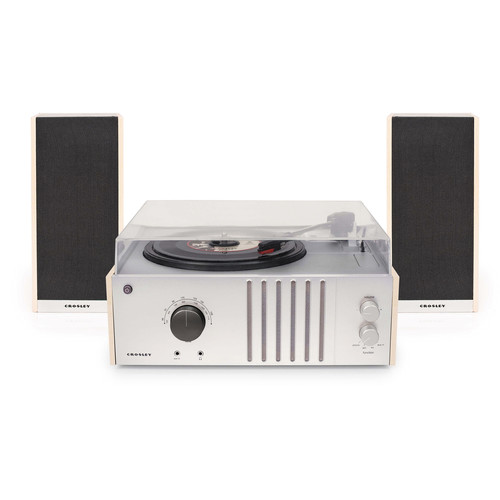 Crosley Radio Player Turntable with Detachable Speakers, AM/FM Radio, and Portable Audio Input