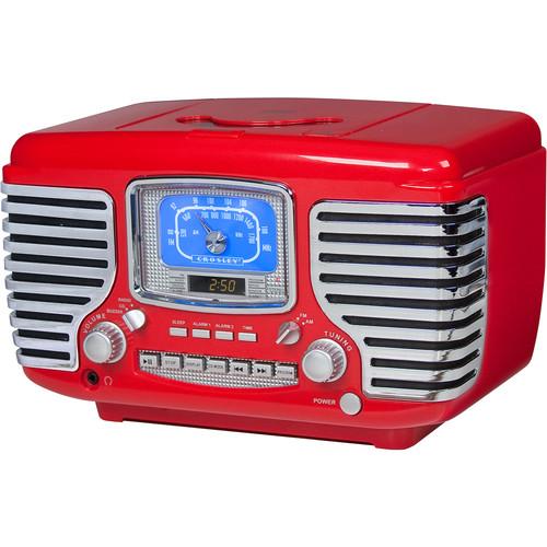 Crosley Radio Corsair AM/FM Bluetooth Radio with Alarm Clock (Red)