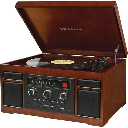 Crosley Radio Patriarch Sound System with Turntable, CD-Player, and AM/FM Radio (Mahogany)