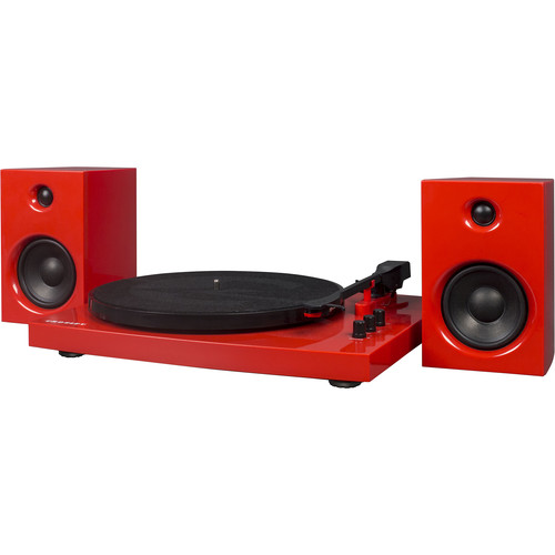 Crosley Radio T100A Stereo Turntable System with Speakers (Red)