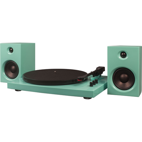 Crosley Radio T100A Stereo Turntable System with Speakers (Turquoise)