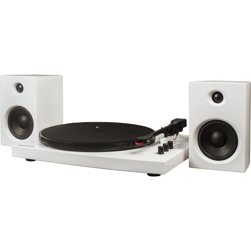Crosley Radio T100A Stereo Turntable System with Speakers (White)