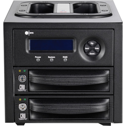 CRU-DataPort RTX221-3QR 1 Latched Bay Tower with 2 x Removable DP10 Drive Carriers