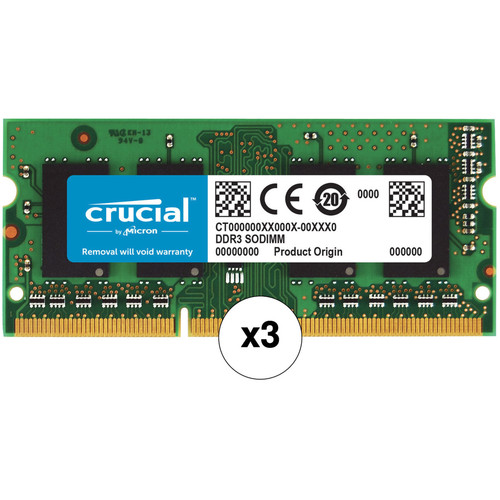 Crucial 24GB (3 x 8GB) 204-Pin SODIMM DDR3 PC3-12800 Memory Module Kit