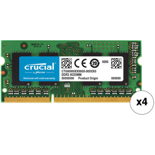 Crucial 32GB 204-pin SODIMM DDR3 PC3-12800 Memory Module Kit for Mac (4x8GB)