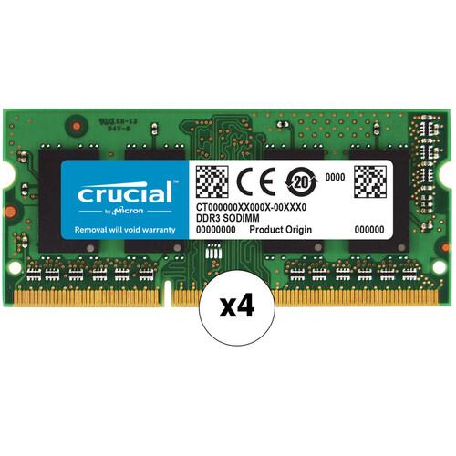 Crucial 32GB 204-pin SODIMM DDR3 PC3-12800 Memory Module Kit (4 x 8GB)