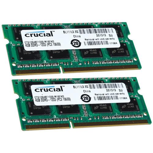 Crucial 8GB (2 x 4GB) 204-Pin SODIMM DDR3 PC3-10600 Memory Module B&H Kit