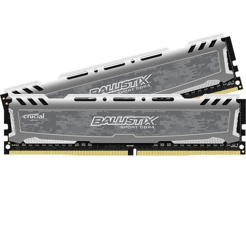 Ballistix 32GB Ballistix Sport DDR4 2400 MHz UDIMM Memory Module Kit (2 x 16GB, Gray)