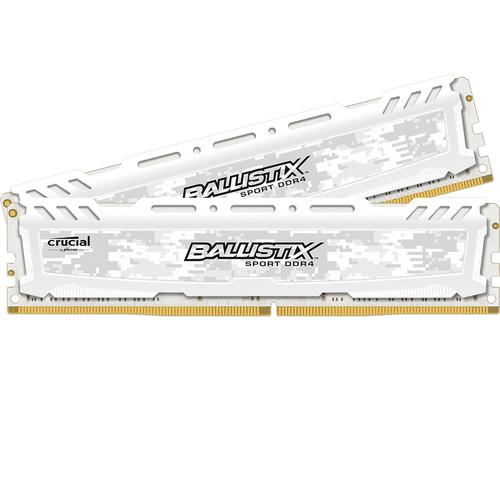 Ballistix 32GB Sport LT Series DDR4 2666 MHz UDIMM Memory Kit (2 x 16GB, White)