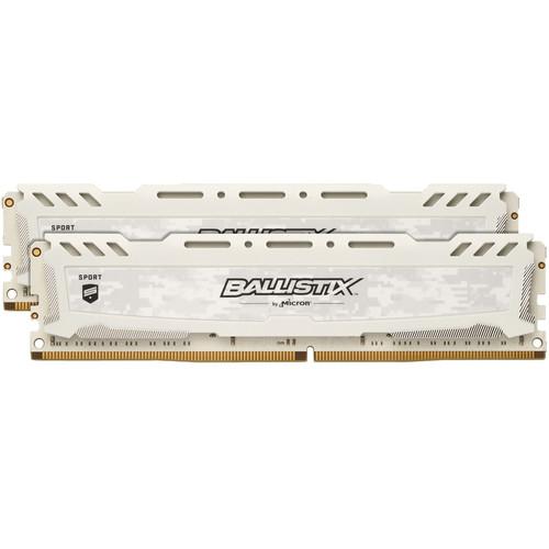Ballistix 16GB Sport LT Series DDR4 2400 MHz UDIMM Memory Kit (2 x 8GB, White)
