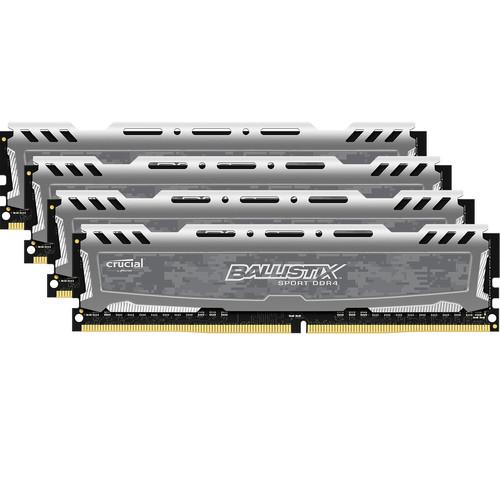 Ballistix 64GB Sport LT Series DDR4 2666 MHz UDIMM Memory Kit (4 x 16GB, Gray)