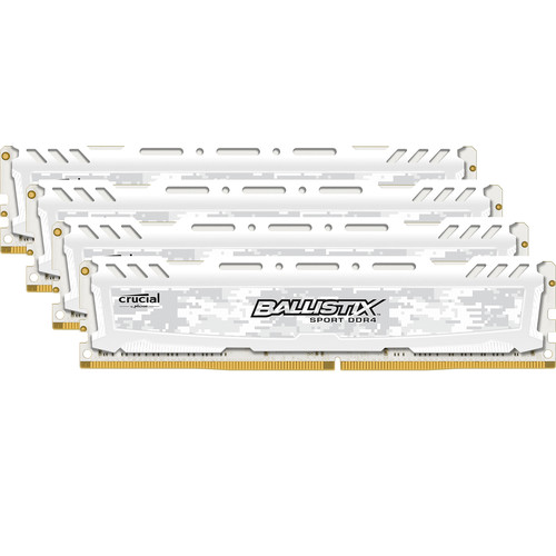 Ballistix 64GB Sport LT Series DDR4 2666 MHz UDIMM Memory Kit (4 x 16GB, White)