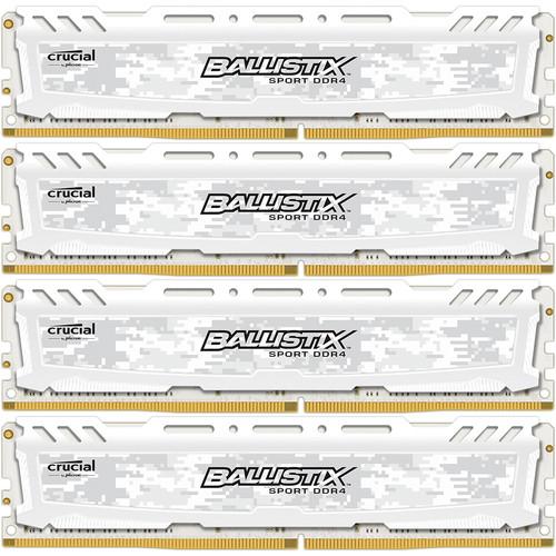 Ballistix 16GB Ballistix Sport DDR4 2400 MHz UDIMM Memory Module Kit (4 x 4GB, White)