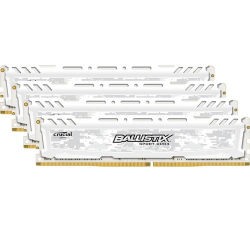 Ballistix 16GB Sport LT Series DDR4 2666 MHz UDIMM Memory Kit (4 x 4GB, White)