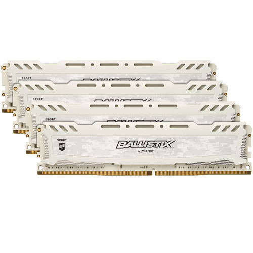 Crucial 32GB Ballistix Sport LT DDR4 2400 MHz x8 Unbuffered DIMM Memory Kit (4x8GB, White)