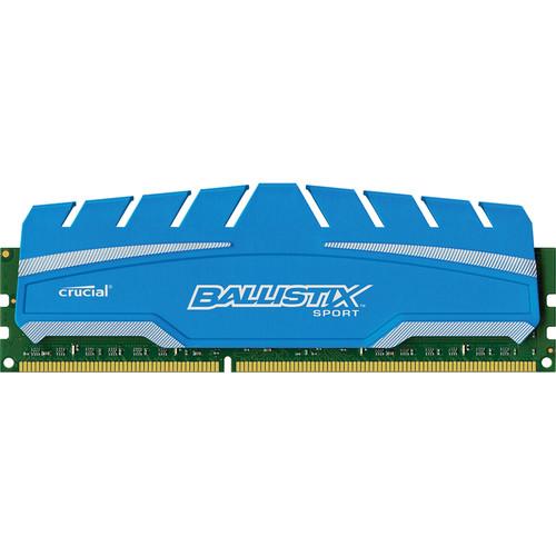 Ballistix 8GB Ballistix Sport DDR3 1600 MHz UDIMM Memory Module (1 x 8GB, Blue Heat Spreader)