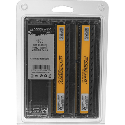 Crucial 16GB Ballistix Tactical Series DDR3 1600 MHz UDIMM Memory Module Kit (2 x 8GB)