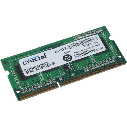 Crucial 2GB CT25664BF1339 204-pin SODIMM, DDR3 PC3-10600 Memory Module