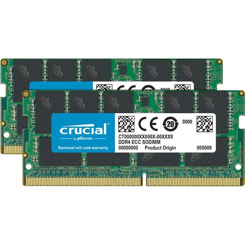 Crucial 32GB (16GBx2) DDR4  2666Mt/S (PC4-21300) CL19 DR X8 ECC Sodimm 260Pin