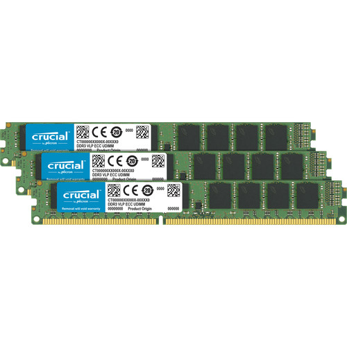 Crucial 24GB Kit (8GBx3) DDR3 1866 Mt/S (Pc3-14900) CL13 Unbuffered ECC Udimm 240Pin