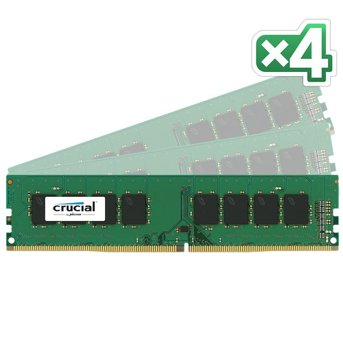 Crucial 64GB DDR4 2133 MHz UDIMM Memory Kit (4 x 16GB)