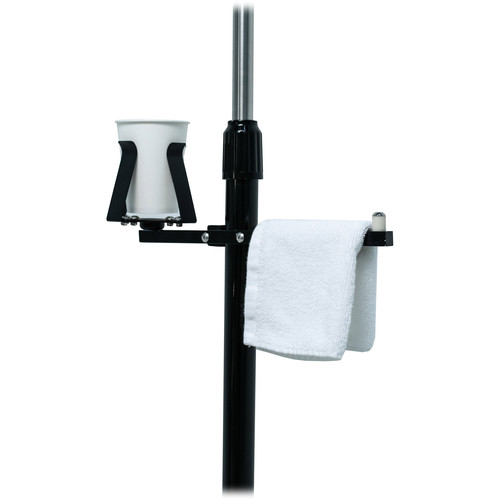 CTA Digital Cup Holder and Towel Rack Gym Buddy Add-On for Tablet Floor Stands