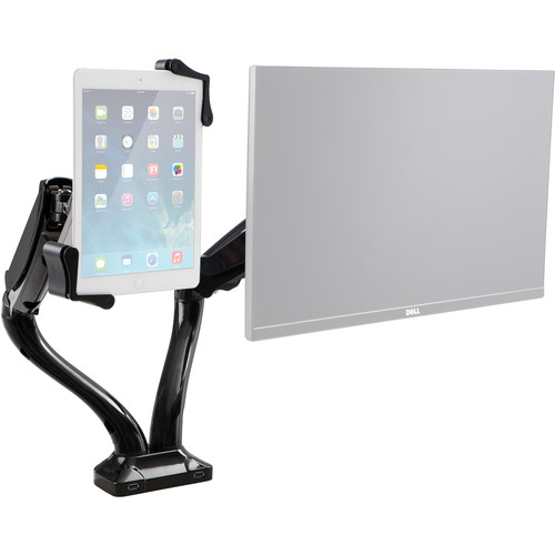 CTA Digital 2-in-1 Adjustable Monitor and Tablet Mount Stand with 2-Port USB Hub