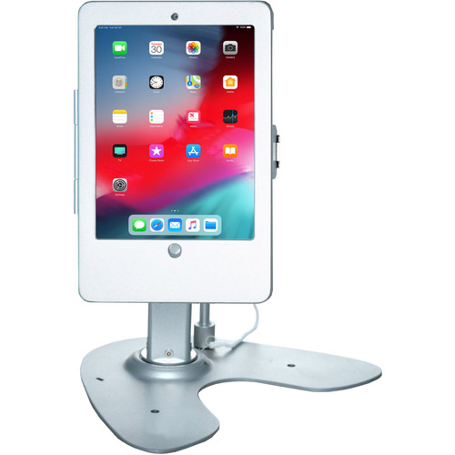 CTA Digital Dual Security Kiosk Stand with Locking Case and Cable for Select Apple iPads (Silver)