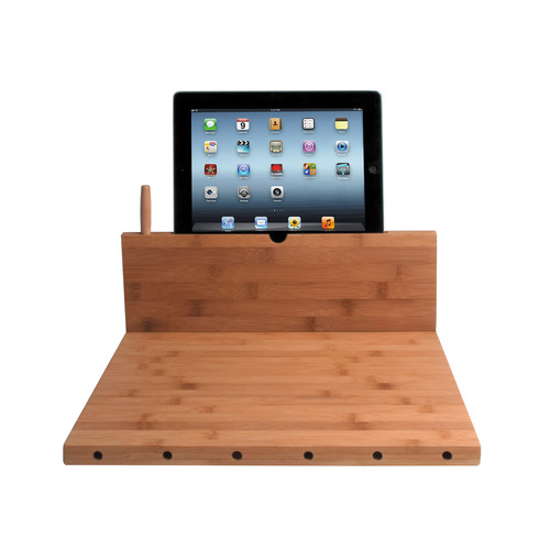 CTA Digital Bamboo Cutting Board with Tablet Stand