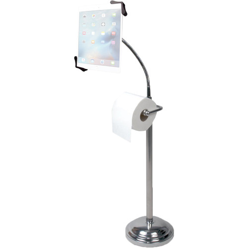 """CTA Digital Pedestal Stand for 7-13"""" Tablets with Toilet Paper Roll Holder"""