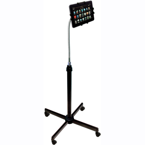 CTA Digital Height-Adjustable Gooseneck Stand with Casters for iPad and Tablets