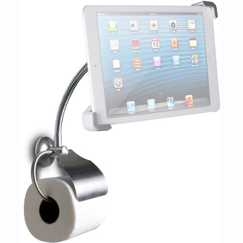 CTA Digital Wall Mount Bathroom Stand with Paper Holder for iPad & Tablets