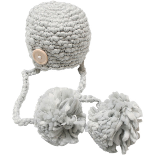 Custom Photo Props Double Pom Chunky Newborn Hat (Ash Gray)