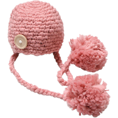 Custom Photo Props Double Pom Chunky Newborn Hat (Blossom Pink)