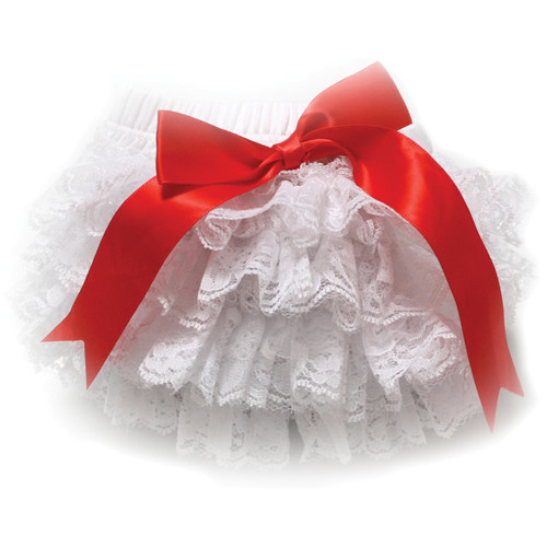Custom Photo Props White Lace with Red Bow Diaper Cover