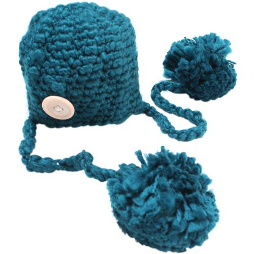 Custom Photo Props Double Pom Chunky Newborn Hat (Pacific Blue)