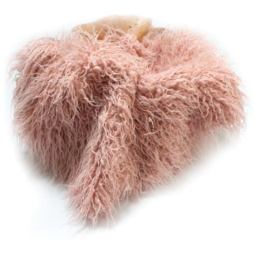 "Custom Photo Props Faux Fur Newborn Photo Prop (Peony Pink Curly Sheep, 20 x 32"")"