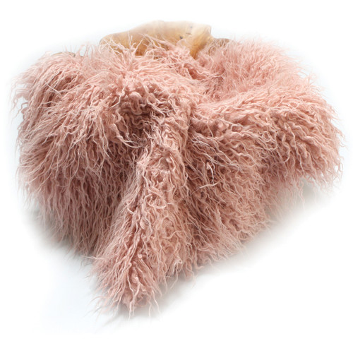 "Custom Photo Props Faux Fur Newborn Photo Prop (Peony Pink Curly Sheep, 36 x 62"")"