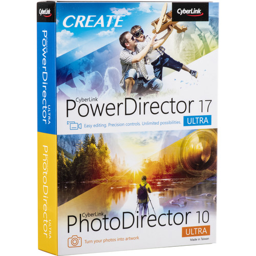CyberLink PowerDirector 17 Ultra and PhotoDirector 10 Ultra (DVD and Download Code)