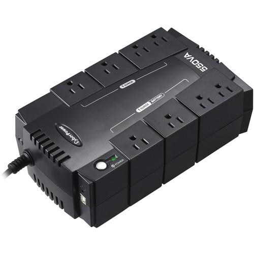 CyberPower UPS SYSTEM-550VA/330W,Simulated Sine Wave, Nema 5-15P,5' Cord,8 Nema 5-15R, USB, Powerpanel Software
