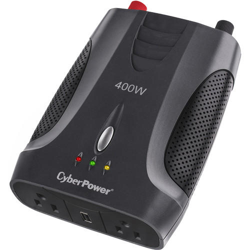 CyberPower Power Inverter:400W(400 Peak)12VDC In-120V Out(2 5-15R(1)USB Charge Port 1.0 Amp/1Battery Clamp Plug