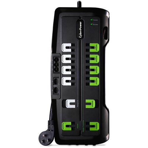 CyberPower 4350 J Surge Suppressor, 125 V, Nema 5-15P 45 Degree Off-Set Plug, 12-Outlet, 8' Cord
