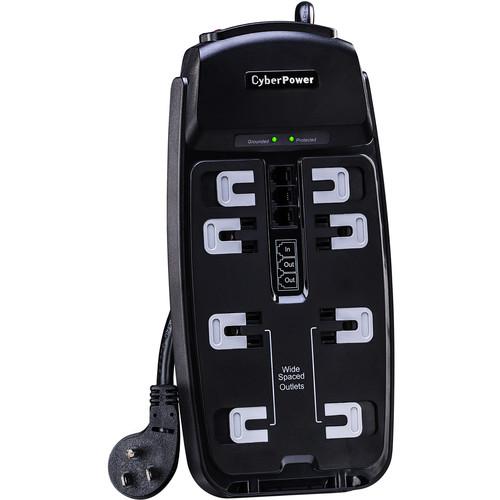 CyberPower TAA Surge Protector:2550 J, 125V, Nema 5-15P, 8 Nema 5-15R ,6 'Cord
