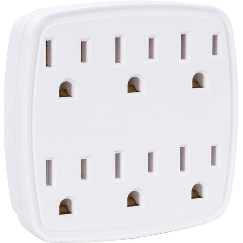 CyberPower Grounded Wall Tap, Expands 2 Grounded Outlets into 6 Grounded Outlets (White)