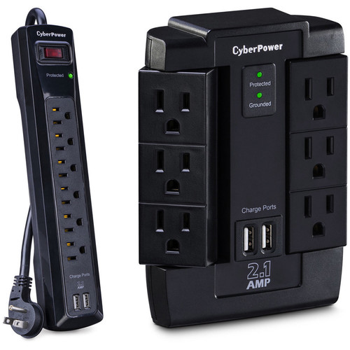 CyberPower Pro Series 6-Outlet and Dual USB 2.1A Surge Protectors Kit