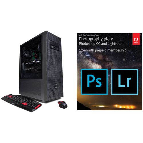 CyberpowerPC Content Creator Series Desktop Computer with Adobe Creative Cloud Photography Plan (12-Month Subscription)