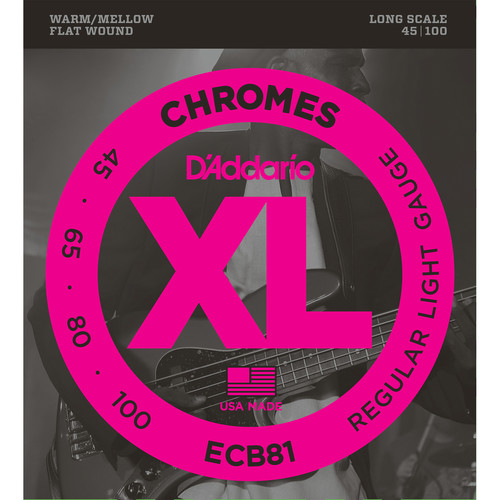 D'Addario ECB81 Light XL Chromes Flat Wound Electric Bass Strings (4-String, Long Scale, 45 - 100)